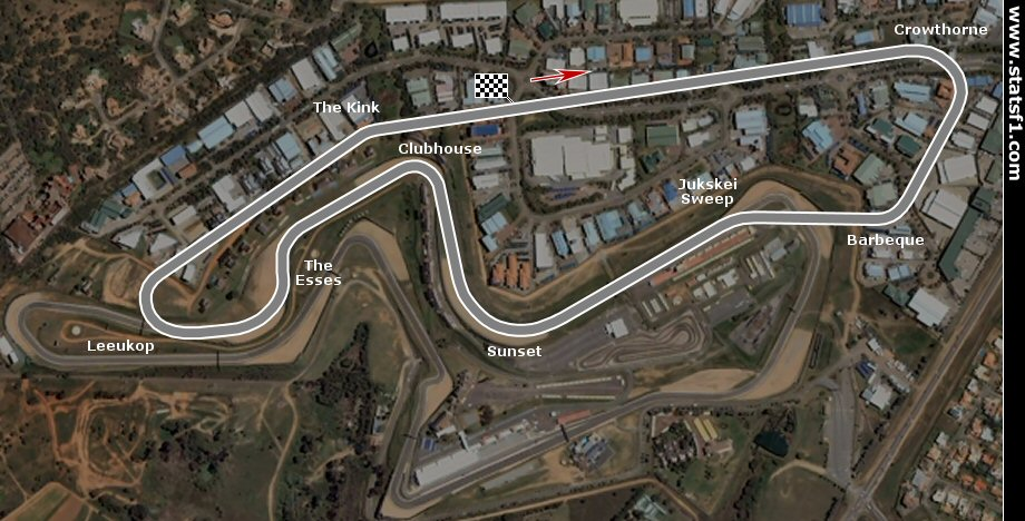Kyalami track configuration from 1967 to 1985